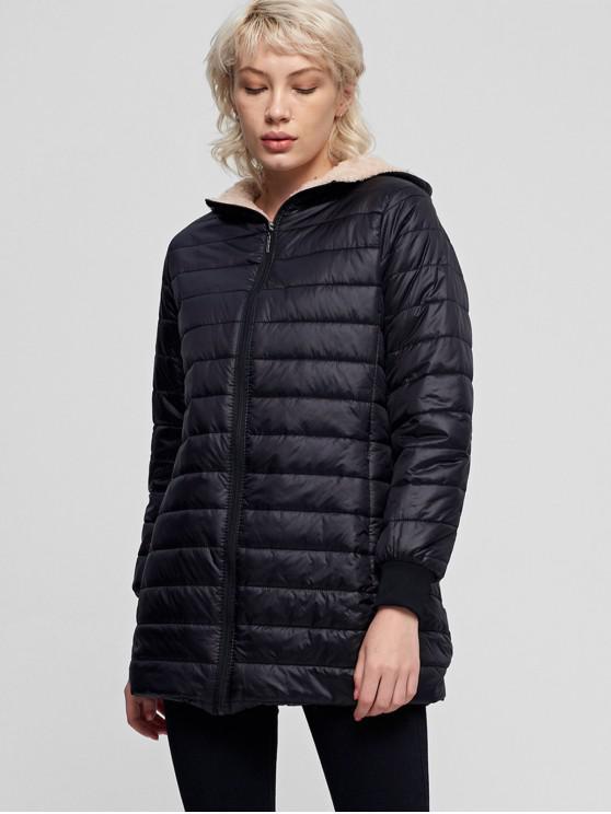 Fluffy foderato Tasca con zip con cappuccio cappotto imbottito - Nero XL