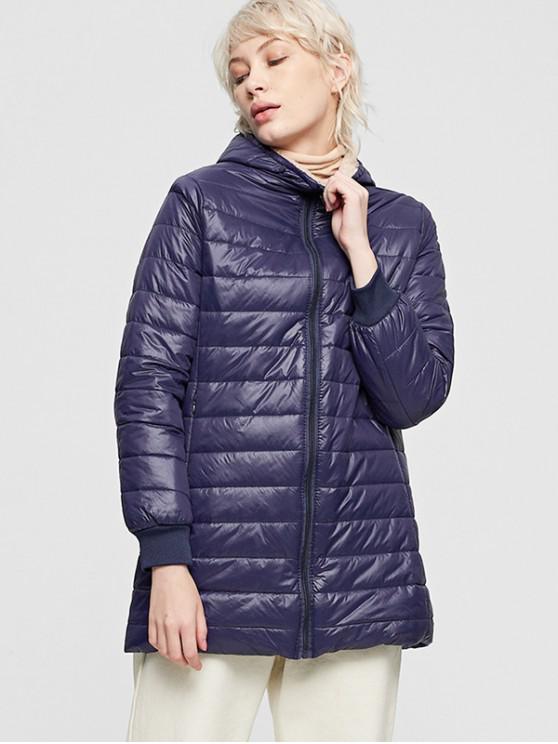 shops Fluffy Lined Hooded Zip Pocket Padded Coat - DEEP BLUE M