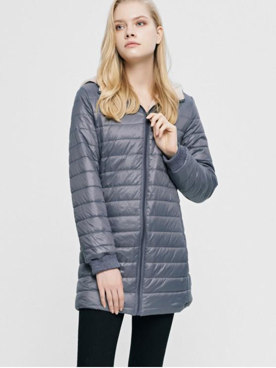Fluffy foderato Tasca con zip con cappuccio cappotto imbottito - Grigio XL