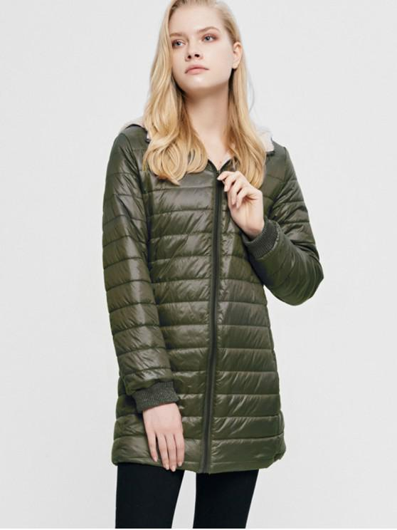 ladies Fluffy Lined Hooded Zip Pocket Padded Coat - ARMY GREEN L