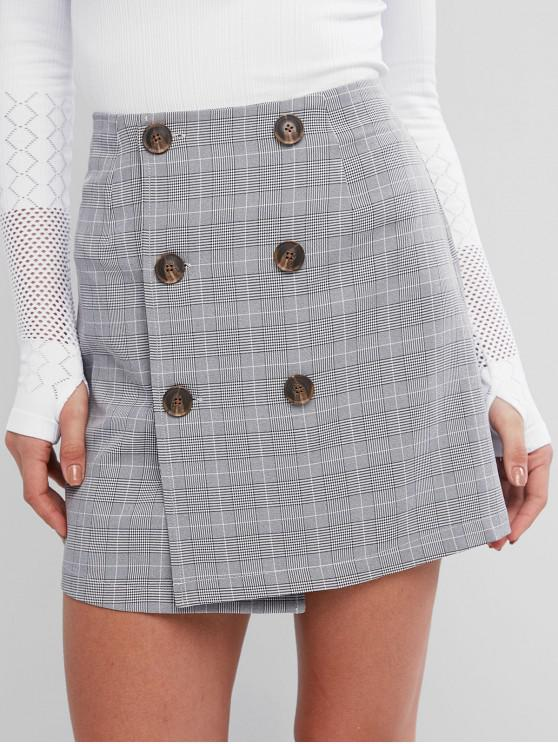ladies ZAFUL Houndstooth Plaid Button Fly Bodycon Skirt - LIGHT GRAY S