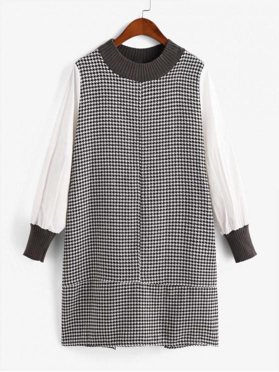 fancy Houndstooth Button Embellished Straight Dress - MULTI-A XL