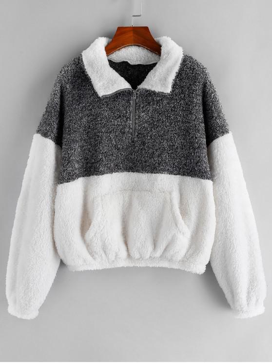 latest ZAFUL Colorblock Drop Shoulder Half Zip Teddy Sweatshirt - MULTI-A M
