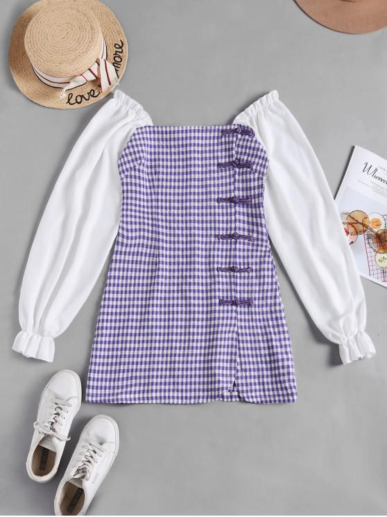 unique Long Sleeve Chinese Knot Buttons Gingham Slit Dress - PURPLE M
