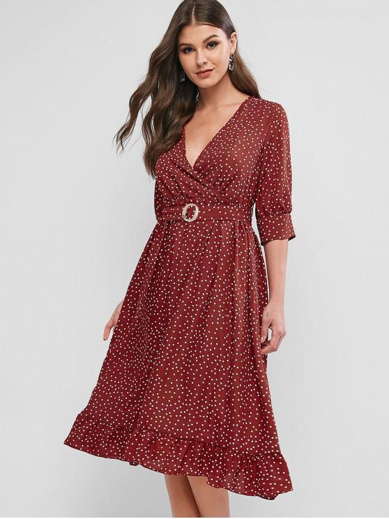 women Polka Dot Surplice Flounce Belted Midi Dress - CHERRY RED L