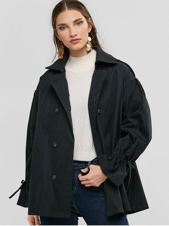 affordable Drawstring Sleeve Pockets Double Breasted Coat - BLACK M