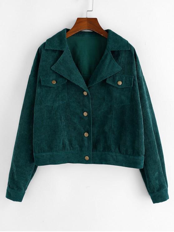 Spalla ZAFUL velluto a coste goccia bavero della giacca - Blu Verdastro XL
