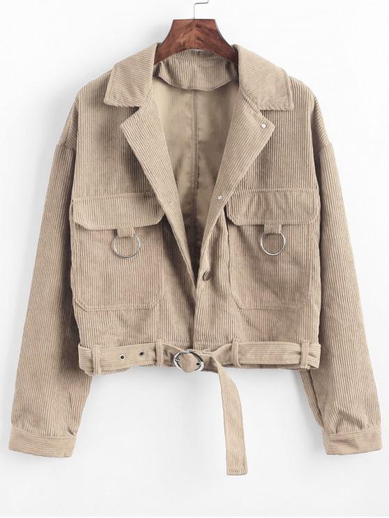 Botón encima de los bolsillos con cinturón chaqueta de pana - Albaricoque S