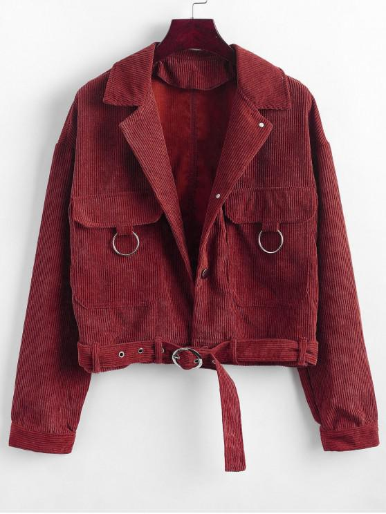 shops Button Up Pockets Belted Corduroy Jacket - RED S