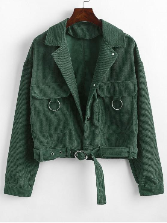 womens Button Up Pockets Belted Corduroy Jacket - GREEN M