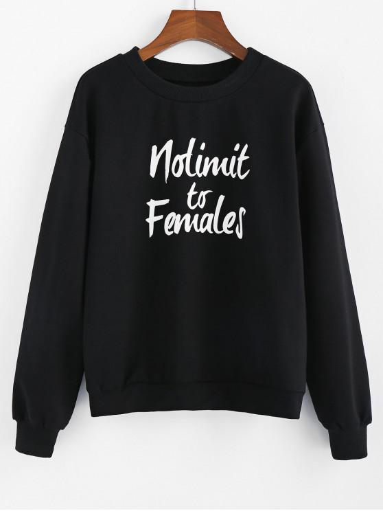 lady ZAFUL Nolimit to Females Graphic Drop Shoulder Lounge Sweatshirt - BLACK S