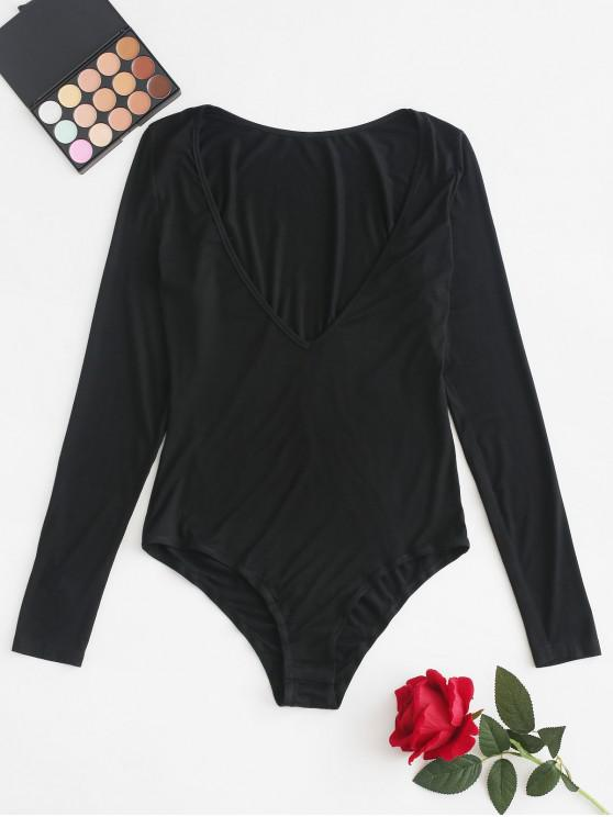 chic ZAFUL Plunge Neck Long Sleeve Plain Bodysuit - BLACK L