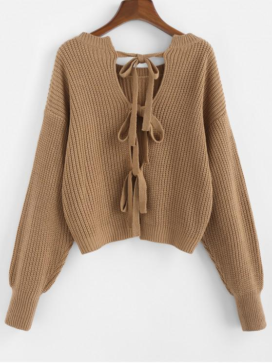 trendy ZAFUL Knot Back Drop Shoulder Textured Sweater - CAMEL BROWN S