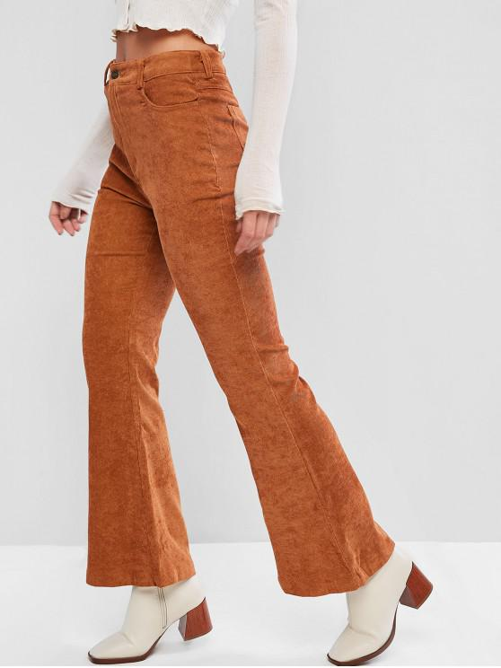 ladies Solid High Waist Corduroy Flare Pants - BROWN S