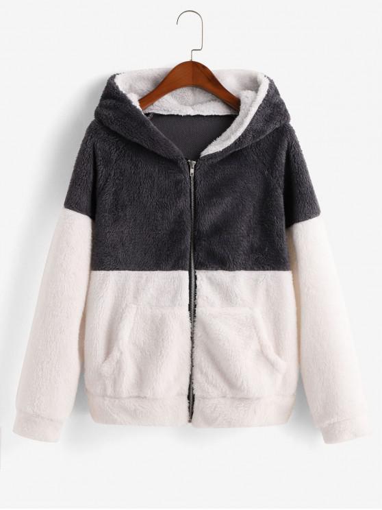 women's Pockets Zip Front Two Tone Fluffy Jacket - MULTI-A XL