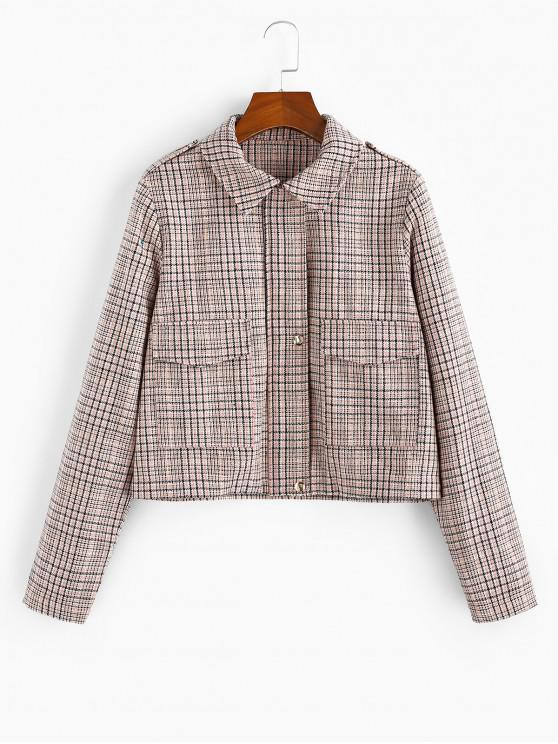 fancy Checked Pocket Shirt Collar Coat - MULTI-A XL