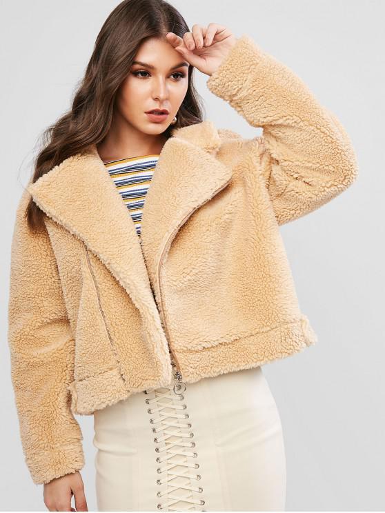 shop ZAFUL Zip Up Solid Teddy Jacket - KHAKI M