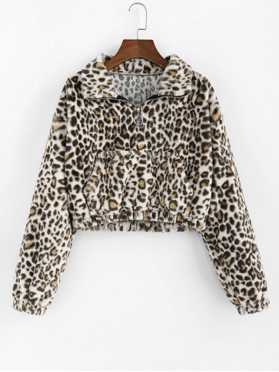 best ZAFUL Leopard Print Front Pocket Crop Sweatshirt - LEOPARD XL