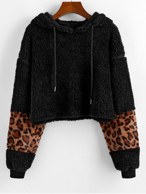 chic ZAFUL Leopard Print Fluffy Drawstring Hoodie - BLACK S