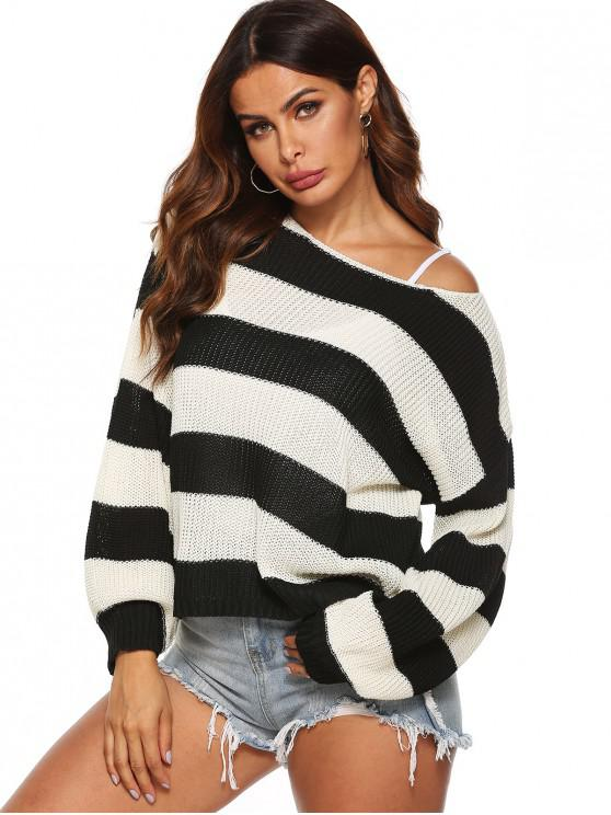 outfits Drop Shoulder Loose Colorblock Stripes Sweater - MULTI S