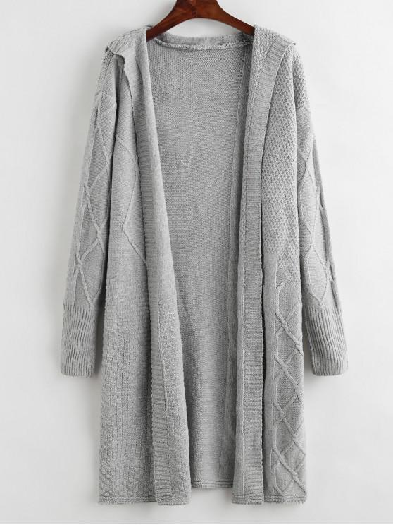fancy Hooded Longline Open Placket Cable Knit Cardigan - GRAY ONE SIZE