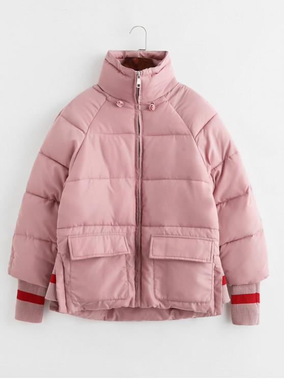 lady Quilted Raglan Sleeve Pocket Ribbed Cuffs Coat - PINK L