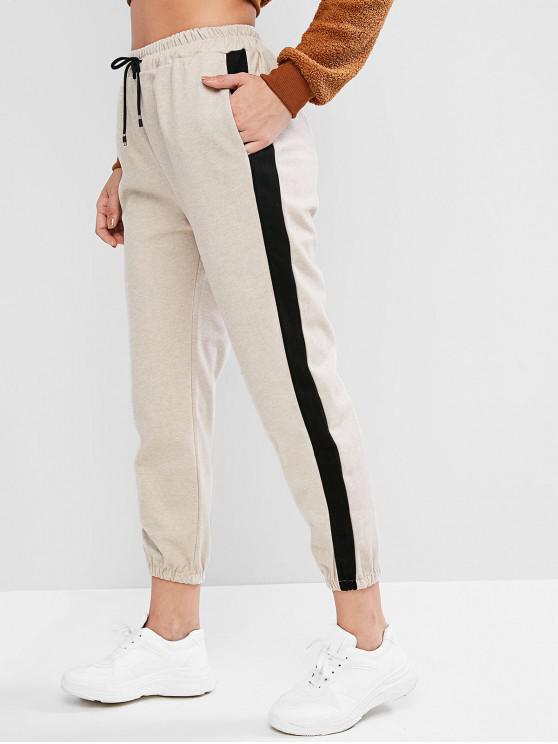 women Drawstring Colorblock High Waisted Jogger Pants - LIGHT KHAKI XL