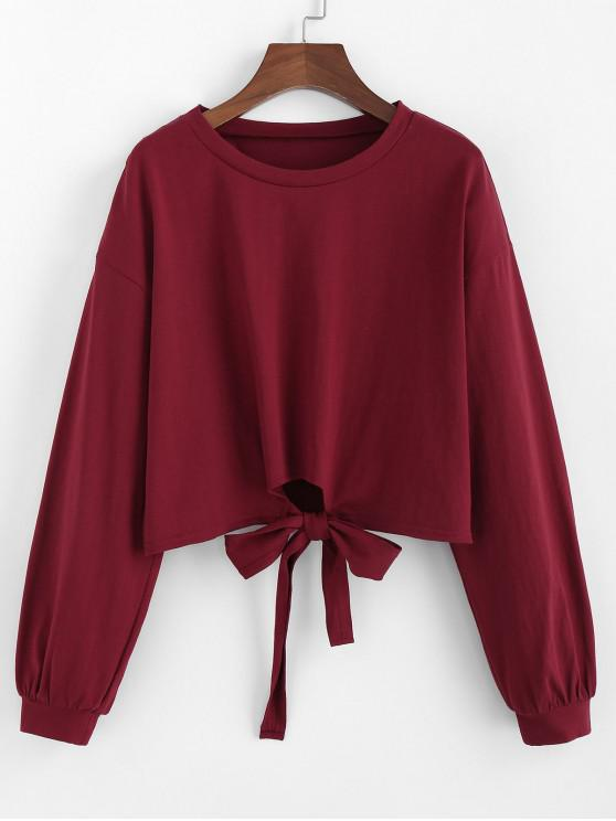 ladies ZAFUL Bowknot Drop Shoulder Crop Sweatshirt - RED WINE S