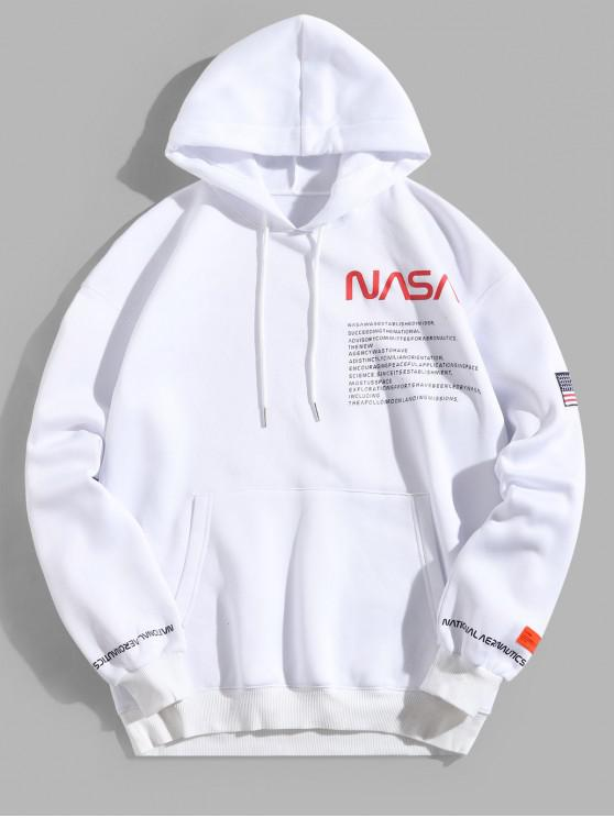 affordable American Flag Patched Drawstring Pocket Hoodie - WHITE 2XL