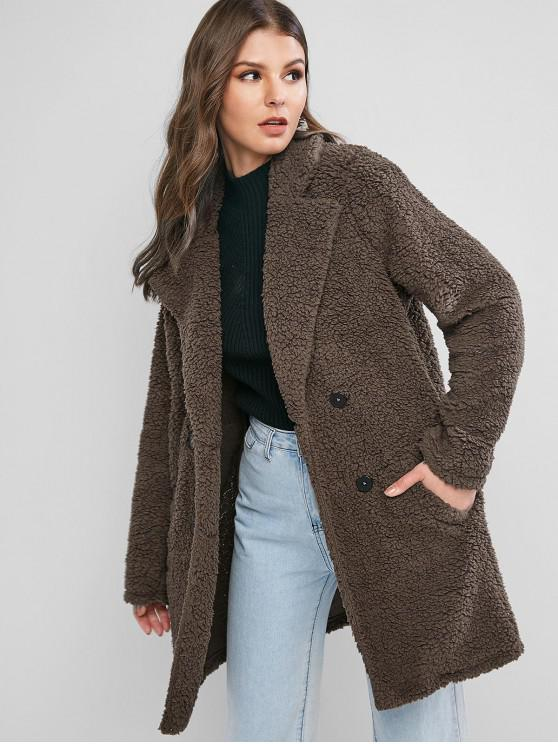 chic ZAFUL Lapel Pocket Longline Faux Fur Coat - COFFEE XL