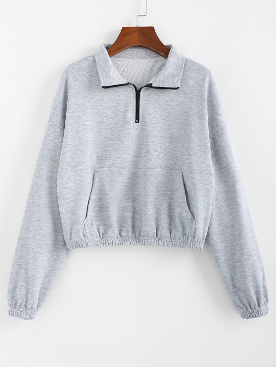 affordable ZAFUL Kangaroo Pocket Zip Drop Shoulder Sweatshirt - LIGHT GRAY XL