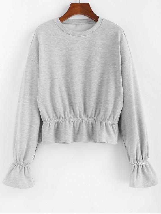 women ZAFUL Poet Sleeves Ruffles Heathered Sweatshirt - LIGHT GRAY XL