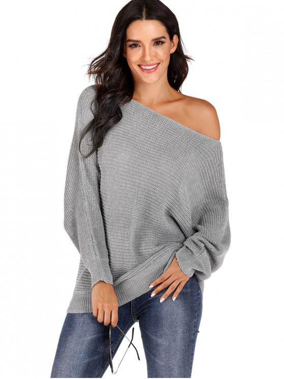 shops Convertible Collar Batwing Sleeve Pullover Sweater - GRAY M