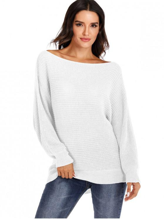 ladies Convertible Collar Batwing Sleeve Pullover Sweater - WHITE L