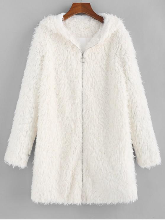 sale ZAFUL Faux Shearling Hooded Fluffy Zip Tunic Coat - CRYSTAL CREAM XL