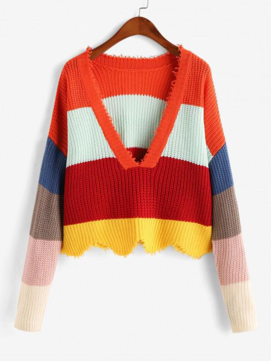 women Color-blocking Plunge Frayed Sweater - MULTI-A ONE SIZE