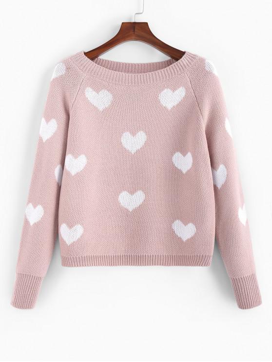 shop ZAFUL Heart Graphic Raglan Sleeve Textured Sweater - ROSE L