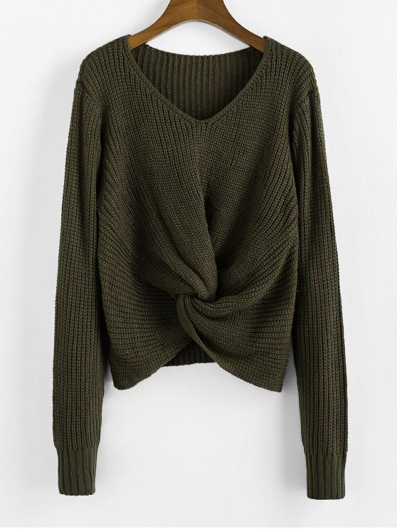 women's Twist V Neck Pullover Sweater - ARMY GREEN M