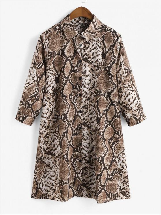 fashion Button Down Snake Print Mini Shirt Dress - BROWN S