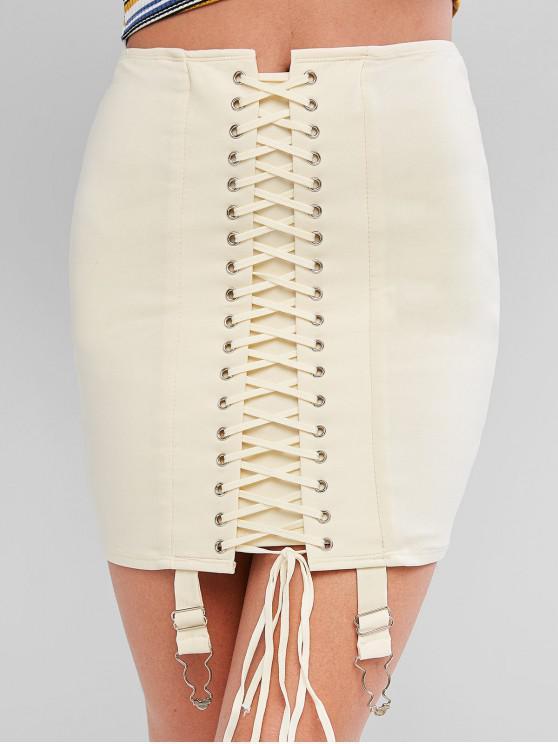 new Grommet Lace Up Mini Bodycon Garter Skirt - BEIGE S
