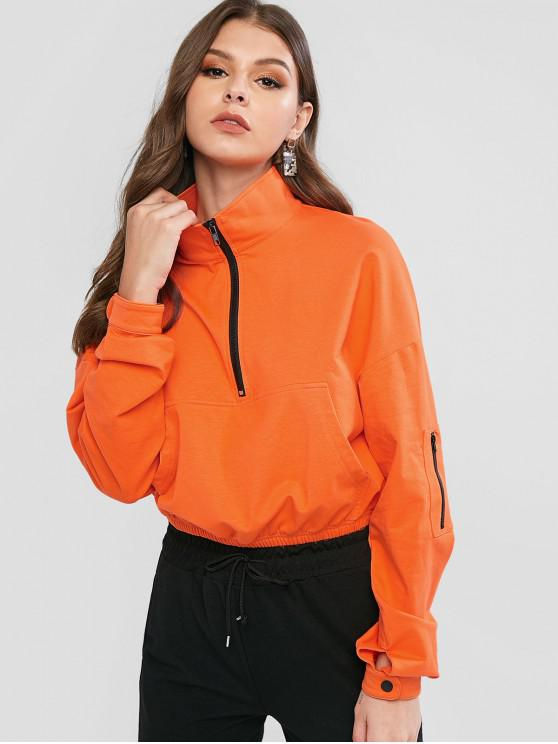 sale ZAFUL Zipper Drop Shoulder Kangaroo Pocket Sweatshirt - BRIGHT ORANGE XL