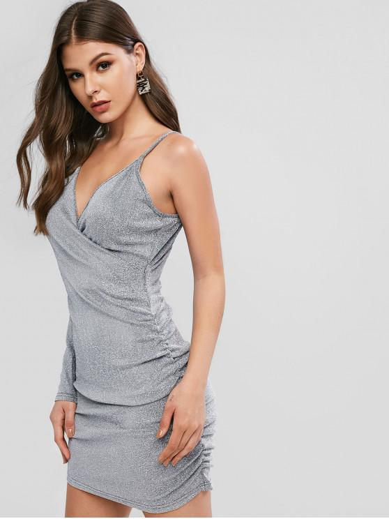 trendy Sparkle Ruched V Neck Bodycon Dress - SILVER L