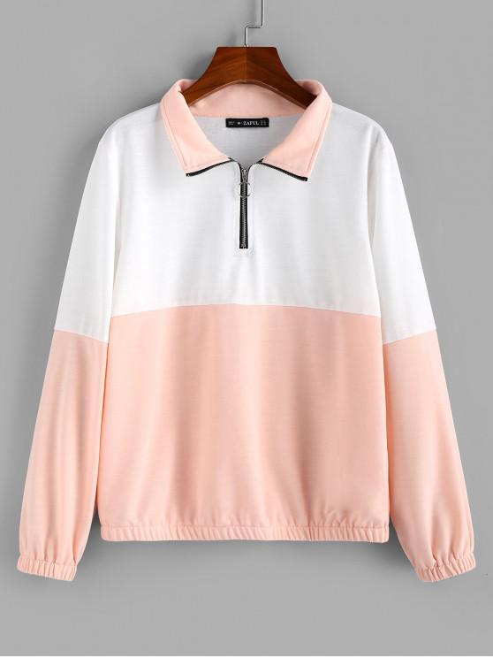 ZAFUL Sweat-shirt à Demi-zip en Blocs de Couleurs - Multi S