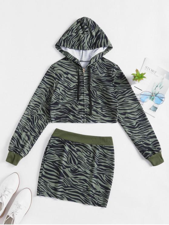 online Zebra Print Raw Cut Hooded Two Piece Set - ARMY GREEN M