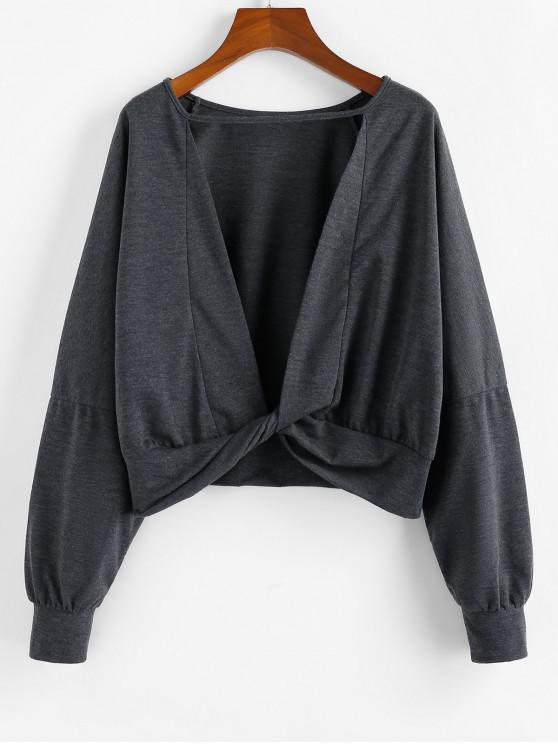 ZAFUL Sweat-shirt Découpé Tordu au Dos à Goutte Epaule - Gris Ardoise Foncé XL