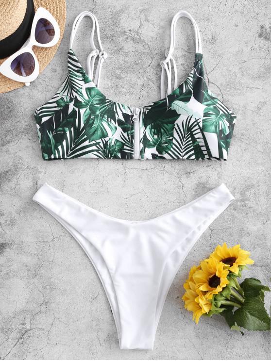 online ZAFUL Leaf Print Zip Front Tropical Bikini Swimsuit - WHITE S