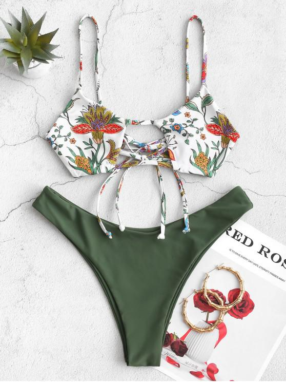 affordable ZAFUL Flower Bralette High Leg Bikini Swimsuit - HAZEL GREEN M