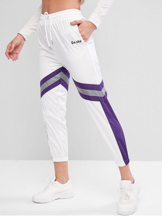 fashion Reflective Drawstring Colorblock Pocket Jogger Pants - WHITE M