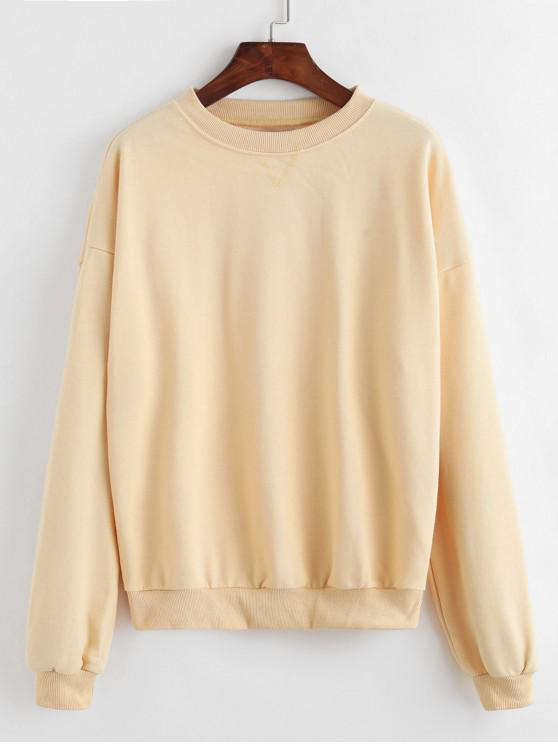 affordable Plain Drop Shoulder Sweatshirt - YELLOW ONE SIZE