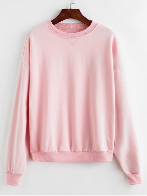 online Plain Drop Shoulder Sweatshirt - PINK ONE SIZE
